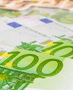 Hundreds of euros closeup close up one hundred euro bills Royalty Free Stock Photos