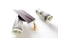 Hundreds and grad cap mini graduation hundred dollar bills Stock Photography