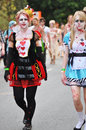 Hundreds of gruesome zombies walking through Brisbane City streets Royalty Free Stock Photo