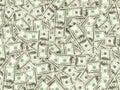 Hundreds of new Benjamin Franklin 100 dollar bills arranged rand Royalty Free Stock Photo