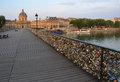 The hundreds of thousands of locks on the pont des arts bridge love inscribed padlocks paris france Stock Photos