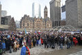 Hundreds of torontonians converged on nathan philips square toronto ontario – canada sunday january sunday afternoon to add Stock Images