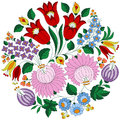 Hungarian folk pattern with tulips and peonies