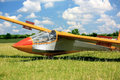 Hungarian glider plane on green grass Royalty Free Stock Photo
