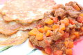 Hungarian goulash and potato pancakes Royalty Free Stock Photo