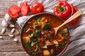 Hungarian goulash soup bograch close-up. horizontal top view Royalty Free Stock Photo