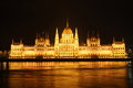 Hungarian parliament in Budapest at night Stock Photo