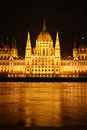 Hungarian parliament in Budapest at night Stock Image