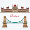 Hungarian Parliament Building and the Chain Bridge. The symbol of Budapest, Hungary. Royalty Free Stock Photo