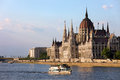 Hungarian parliament building danube river budapest hungary Royalty Free Stock Image