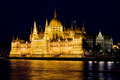 Hungarian parliament building at night late view from the danube river in budapest hungary Stock Photography
