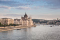 Hungarian parliament on the danube river in budapest Stock Image