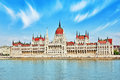 Hungarian Parliament at daytime. Budapest. View from Danube rive Royalty Free Stock Photo