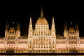 Hungarian Parliament by night in Budapest Stock Image