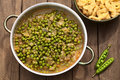 Hungarian pea stew made of onion and peas and seasoned with paprika and salt served usually with galuska or nokedli Stock Photo
