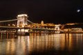 Hungary, Budapest, Chain bridge and Castle Buda - night picture