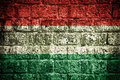 Hungary flag painted on old brick wall Stock Photos