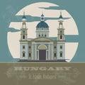 Hungary landmarks retro styled image vector illustration Stock Photos