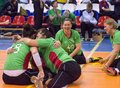 Hungary team rejoice of point russia moscow may unidentified sportsmen during international sitting volleyball tournament game on Royalty Free Stock Image