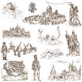 Hungary traveling series part collection of an hand drawn illustrations description full sized hand drawn illustrations isolated Royalty Free Stock Photography
