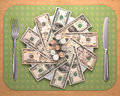 Hunger for money dinner time with american on the plate Royalty Free Stock Images