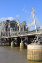Hungerford bridge and golden jubilee bridges in london circa october the crosses the river thames lies between waterloo Stock Photo