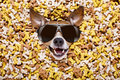 Hungry dog in big food mound Royalty Free Stock Photo