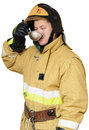 Hungry firefighter Royalty Free Stock Images
