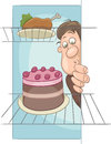 Hungry man on diet cartoon Royalty Free Stock Photo