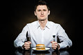 Hungry man is going to eat a burger Royalty Free Stock Photo