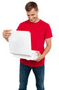 Hungry man looking at delicious yummy pizza Royalty Free Stock Photos