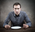 Hungry man slow restaurant service concept Royalty Free Stock Image