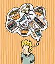 Hungry munchies fast food cartoon illustration of a thinking man Stock Image