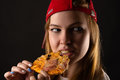 Hungry young woman eating pizza Royalty Free Stock Photo