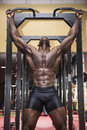 Hunky muscular black bodybuilder working out in gym exercising back with dumbbells Stock Photography
