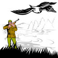 Hunter aiming at duck Royalty Free Stock Photo