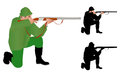 Hunter aiming in kneeling position illustration Royalty Free Stock Image