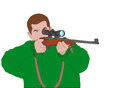 Hunter aiming with sniper rifle illustration Royalty Free Stock Photography