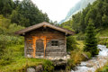 Hunter barn in the mountains Royalty Free Stock Photo