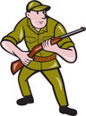 Hunter carrying rifle cartoon illustration of a facing front on isolated background done in style Royalty Free Stock Photography