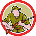 Hunter carrying rifle circle cartoon illustration of a facing front set inside on isolated background done in style Stock Photos