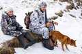 Hunter with his son and dog Royalty Free Stock Photo