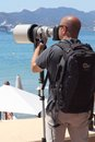 The hunter hunted paparazzi in cannes during festival Royalty Free Stock Photos