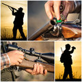 Hunter hunting collage in the sunset Royalty Free Stock Images