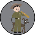 Hunter man and dog illustration of image is isolated on color background created in illustrator software Stock Images