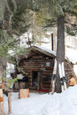 Hunter s hut in the siberian taiga in the winter during hunting a house mountain of eastern sayan Stock Photo
