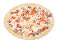 Hunters pizza with hunter sausage isolated over white background side view Royalty Free Stock Photos