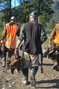 The hunters return a group of friends from their pheasant hunt with plenty of game on west coast of new zealand Stock Image