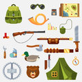 Hunting animal wild life leisure tackle and equipment icons set with rifle knive tent and survival kit isolated illustratio