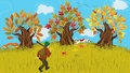 Hunting autumn cartoon landscape with trees and huntsman walking shooting with his dog Royalty Free Stock Image